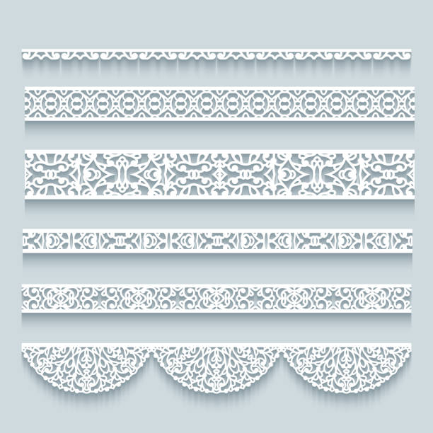 Set of seamless lace borders Set of seamless border patterns. Crochet lace ribbons. Elegant cutout paper lines on neutral background. Ornamental templates for scrapbooking or laser cutting. decorative laser cut set stock illustrations