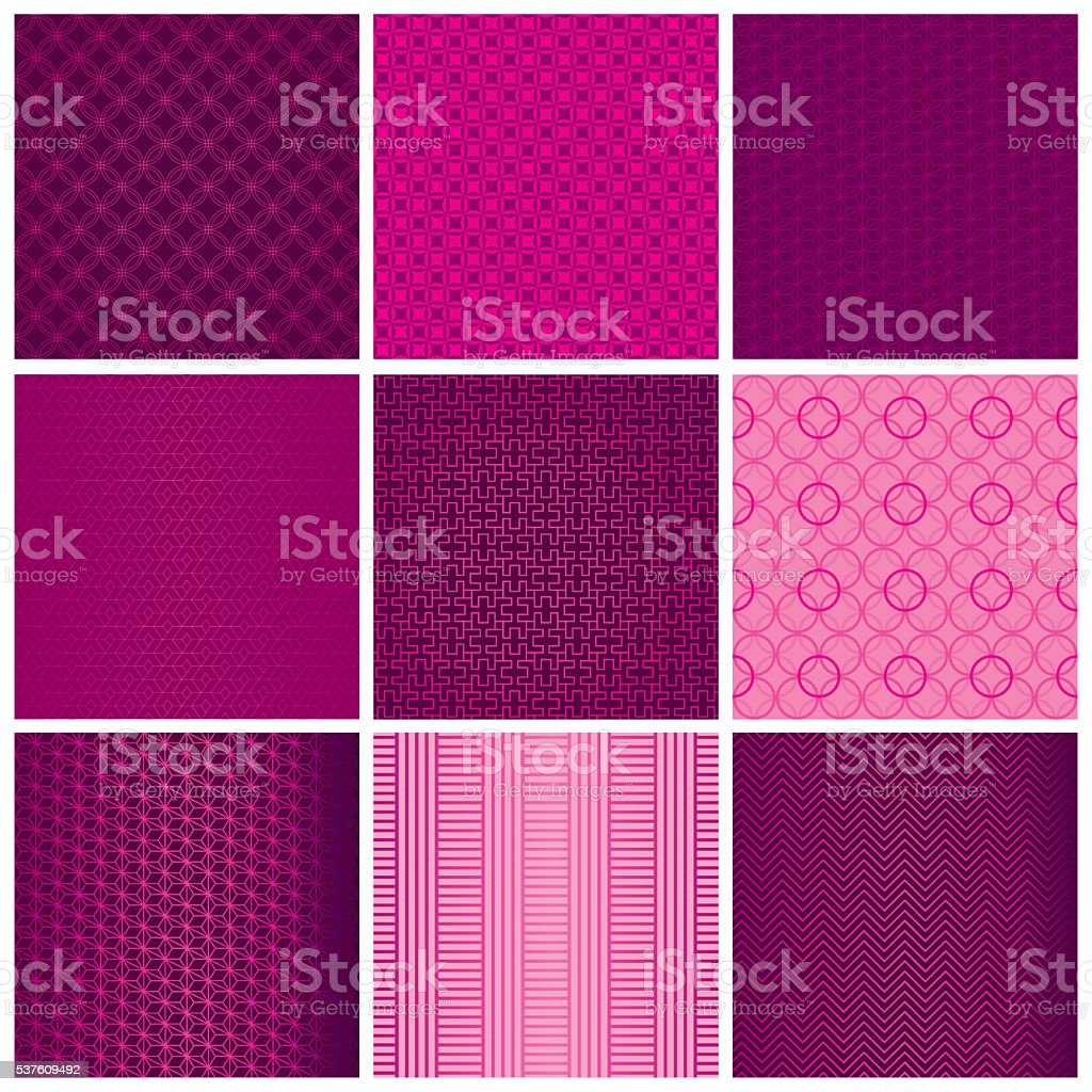 Set of seamless magenta patterns vector art illustration