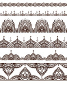 Set of seamless mehendi patterns. Vector borders for frames, cards, invitations, tattoos and your design