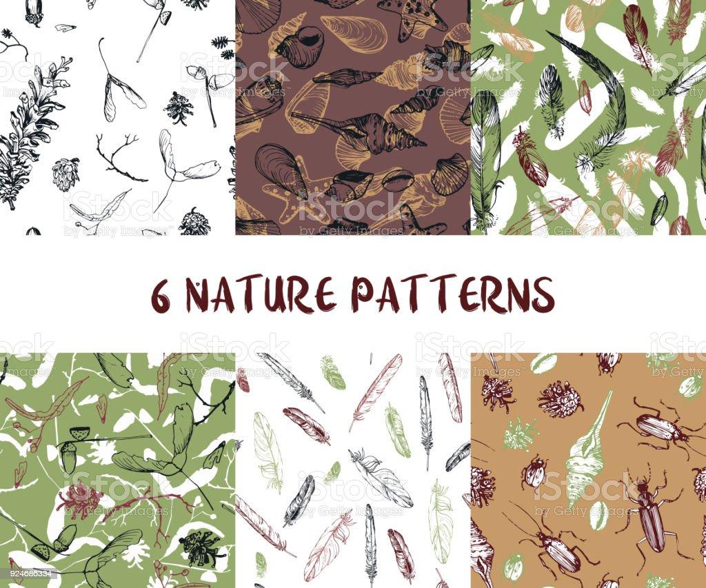 set of seamless nature patterns vector art illustration