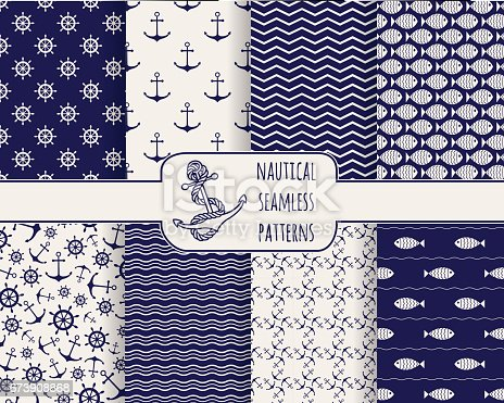 Set of seamless nautical patterns. Backgrounds with anchors, ship wheels, fish and waves. Design elements for wallpaper, baby shower invitation, birthday card, scrapbooking, fabric. Vector illustration.