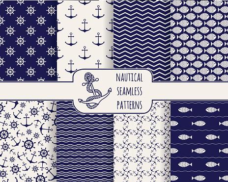 Set of seamless nautical patterns