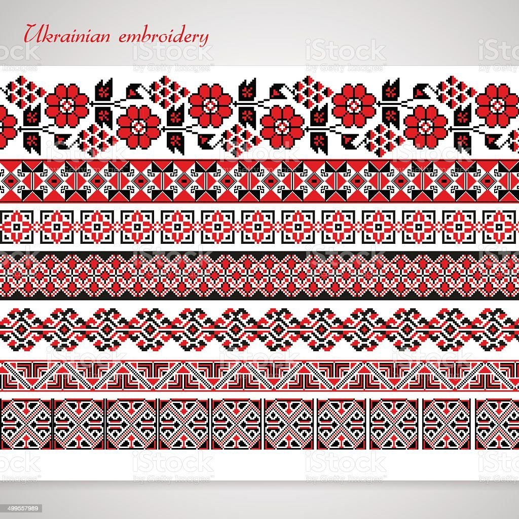 Set of seamless ornamented borders. vector art illustration