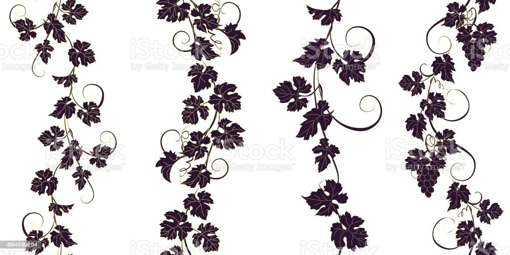Set of seamless ornaments with vines of grapes.