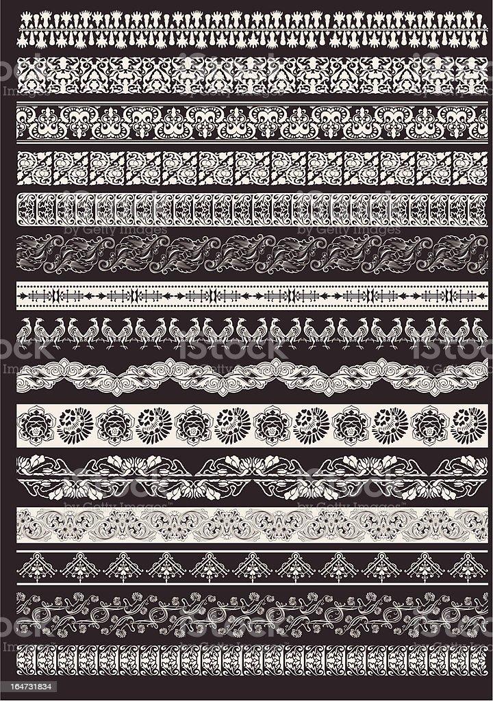 Set Of Seamless Ornate Element Border royalty-free stock vector art