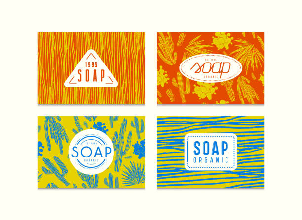 Set of seamless pattern and labels for organic soap packaging Set of seamless pattern and labels for organic soap packaging. Illustration with the image of cactuses. Bright color background linocut stock illustrations