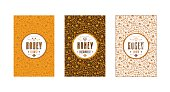 Set of seamless pattern and template labels for flower honey, linden honey and buckwheat honey. Set of color variants
