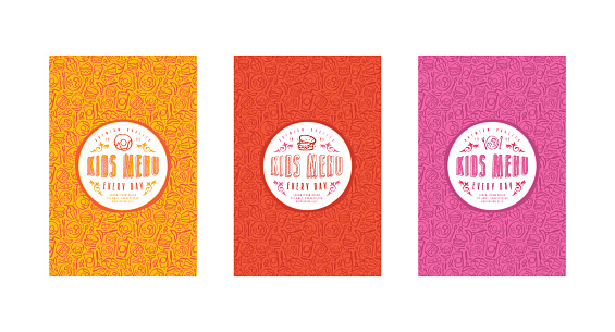Set of seamless pattern and template labels for kids menu