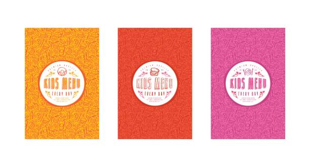 Set of seamless pattern and template labels for kids menu Set of seamless pattern and template labels for kids menu. Set of color variants cooking designs stock illustrations