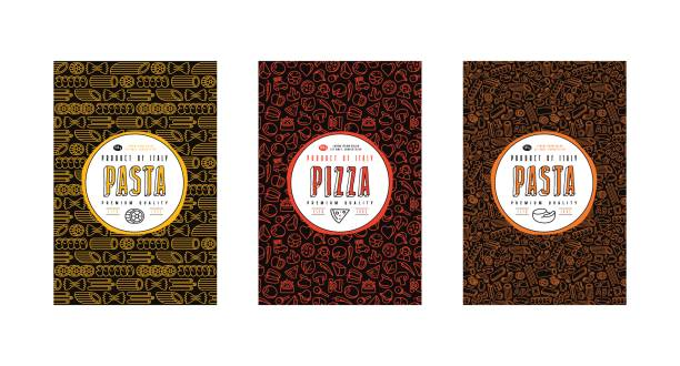 Set of seamless pattern and template labels for pizza and pasta Set of seamless pattern and template labels for pizza and pasta. Design elements in thin line style. Color print on black label rotelle stock illustrations