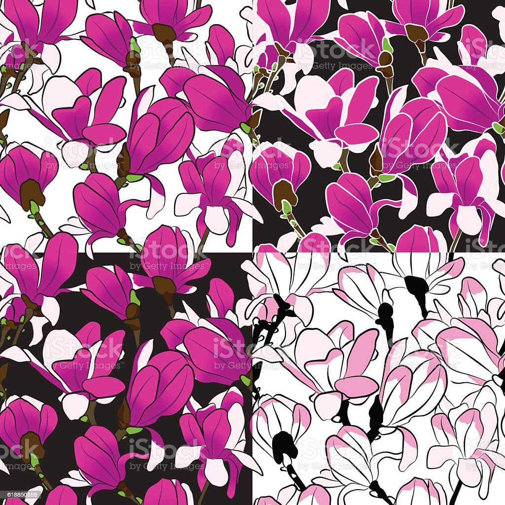 Set of seamless pattern of magnolia blooming tree. vector art illustration