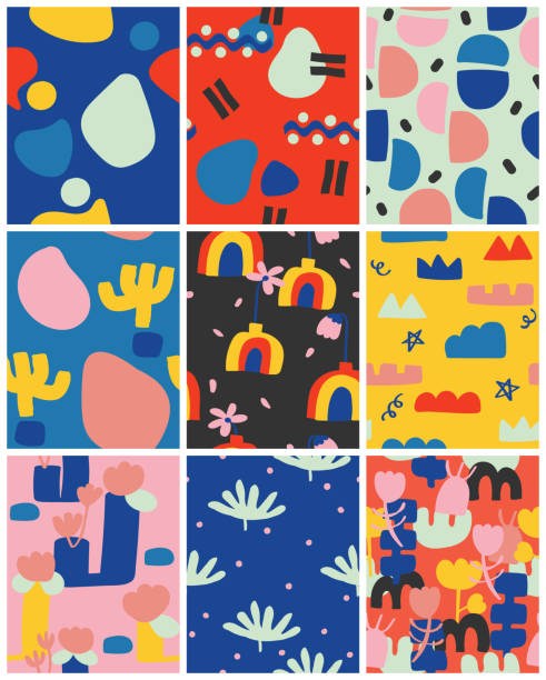 set of seamless pattern with cute shape. abstract pattern print for design. vector and illustration for kids. doodle colourful collection backgrounds. vector, illustration, poster, postcard, pattern natural pattern stock illustrations