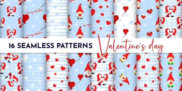 Set of Seamless pattern with gnome couple, heart, texture stripes. Valentines day background. Love concept. For wallpaper, gift box, scrapbooking, clothes fabric textile