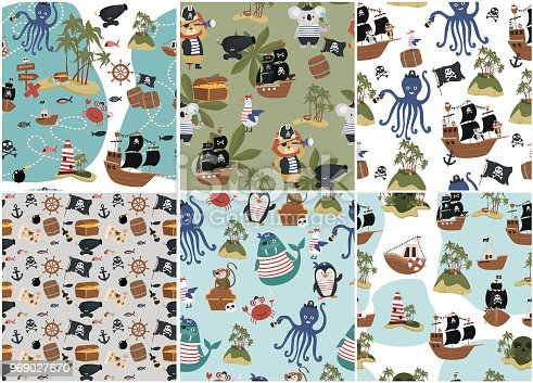 Set of seamless pattern with pirate objects in cartoon style. Fun animal characters, treasure island and ships. Editable vector illustration