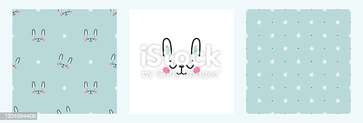 Set of Seamless Patterns and Poster with Cute Bunny and Stars. Childish Background with Little Easter Rabbit Face. Vector Baby Funny Animals Drawing for Tee Print for Kids.