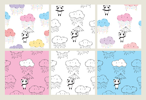 Set of seamless patterns for kids.