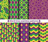 Set of seamless patterns for Mardi Gras.
