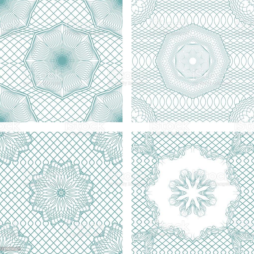 Conjunto de padrões de sem costura-elementos ornamentais Guilhoché - Royalty-free Bilhete arte vetorial
