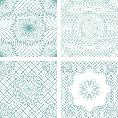 Conjunto De Padrões De Sem Costuraelementos Ornamentais Guilhoché - Arte vetorial de stock e mais imagens de Bilhete