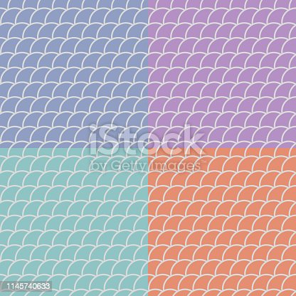 Set of seamless patterns in oriental motifs in pastel shades , fish scales backgrounds, vector illustration