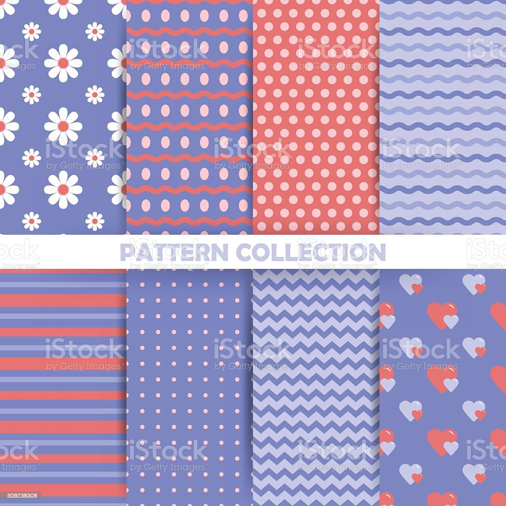 Set of seamless patterns in retro style vector art illustration
