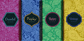 Set of seamless patterns in vintage paisley style. Oriental retro pattern