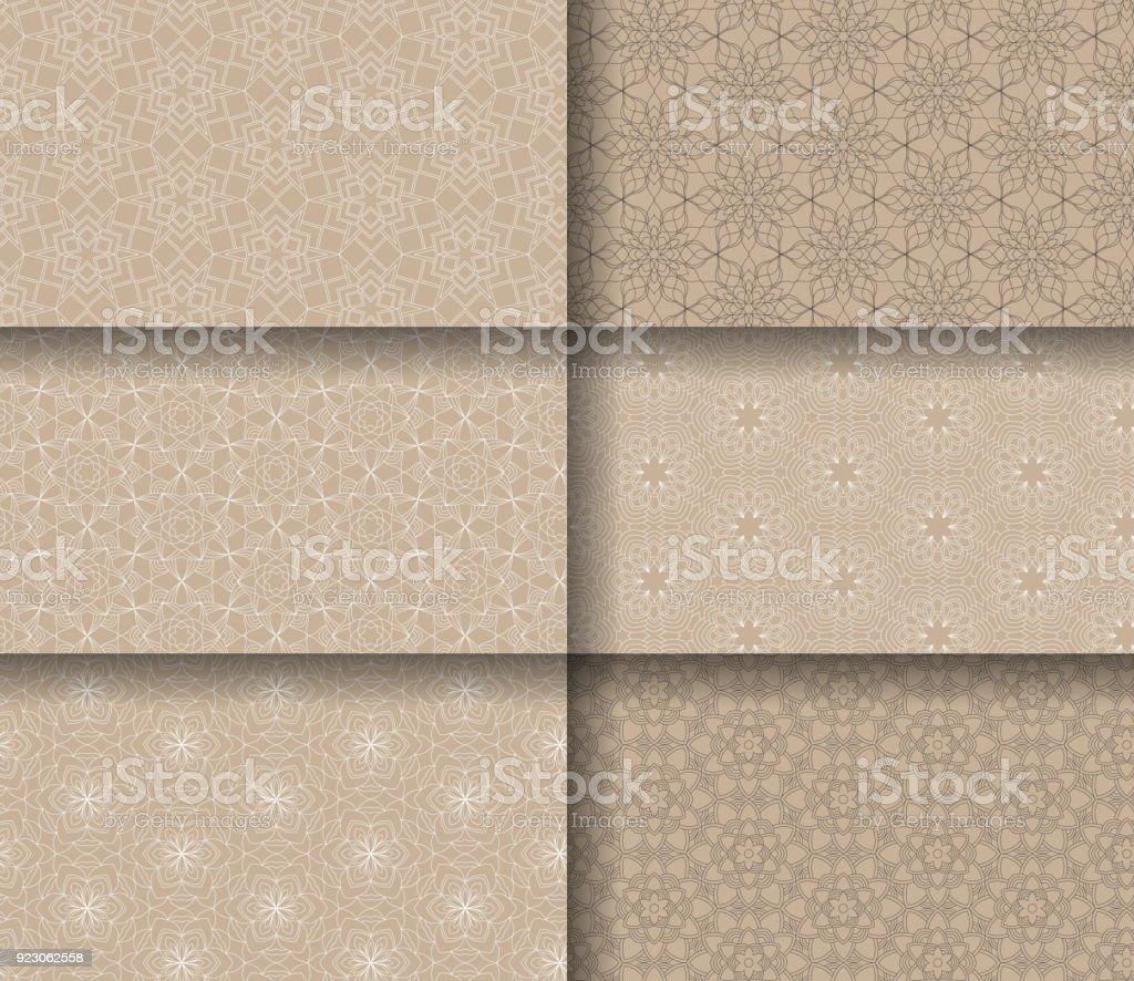 Set of seamless patterns tile with mandalas.