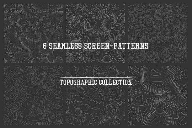 set of seamless patterns topographic lines seamless patterns vector collection, high quality tileable backgrounds topography stock illustrations
