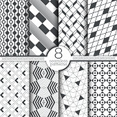 Set of seamless patterns. Modern elegant textures. Regularly repeating geometrical ornaments with thin lines, rectangles, hexagons, rhombuses, corners, triangles. Vector element of graphical design