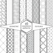 Set of seamless patterns. Modern stylish textures.  Regularly repeating geometrical ornaments with zigzags, hexagons, cubes, corners, dashed thin lines, dots, rhombuses, stars, circles, linear squares