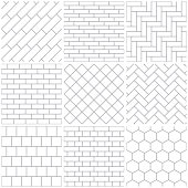 Set of nine seamless patterns. Simple schemes that imitate different materials - brickwork, parquet and tiles.