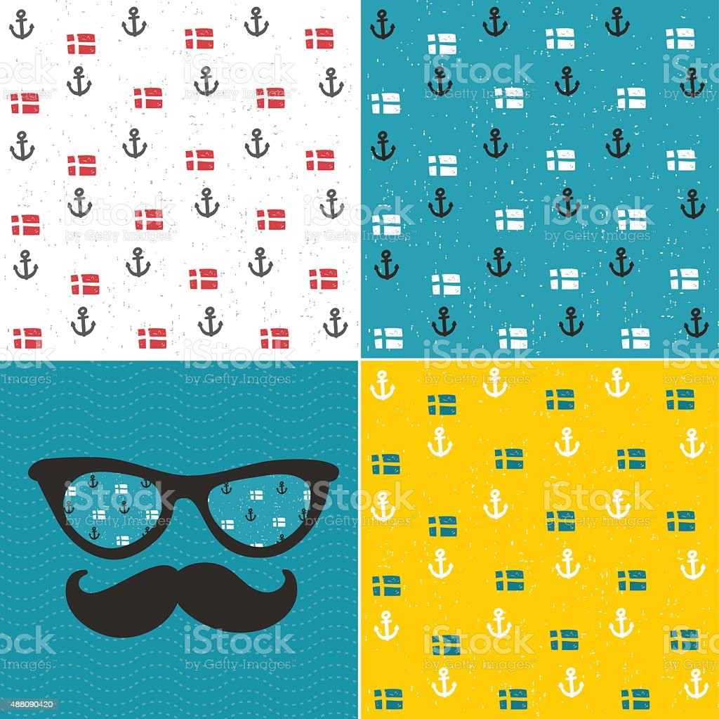 Set of seamless patterns with anchors and national flags. vector art illustration