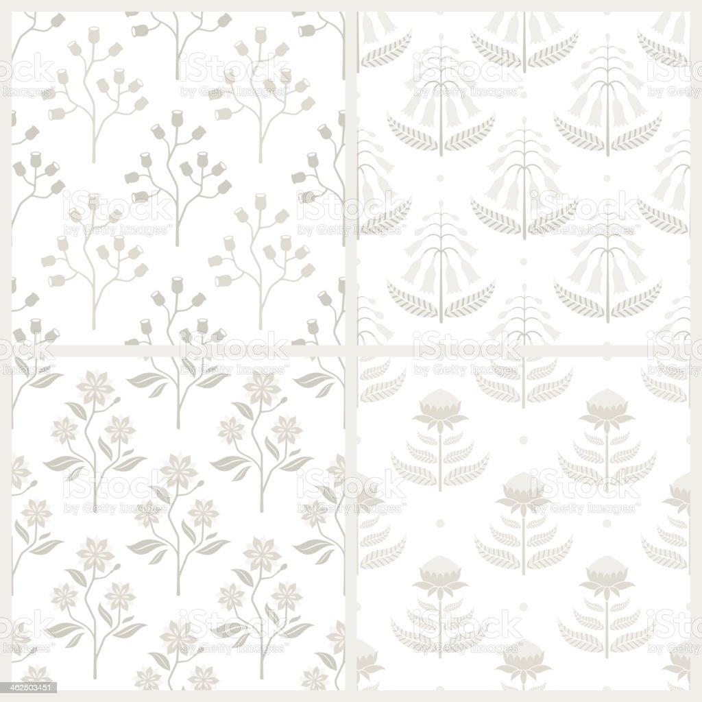 Set of seamless patterns with Australian flora vector art illustration