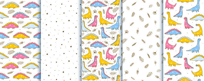 Set of seamless patterns with cute dinosaurs - cartoon backgrounds for children textile and wrapping design