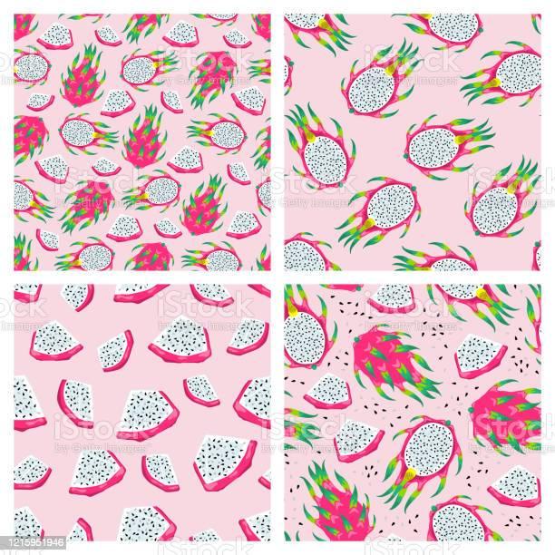 薄いピンクの背景に分離されたドラゴンフルーツとシームレスなパターンのセットエキゾチックな熱帯ピタヤのベクターイラスト夏の壁紙 まぶしいのベクターアート素材や画像を多数ご用意 Istock
