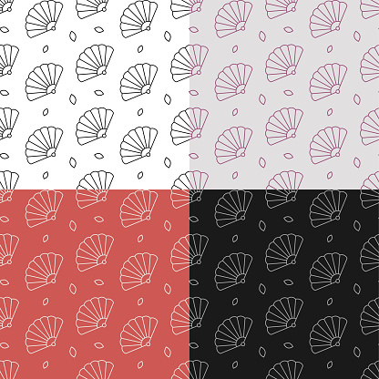 set of seamless patterns with Female folding fan of Japanese geisha. Ornament for decoration and printing on fabric. Design element. Vector