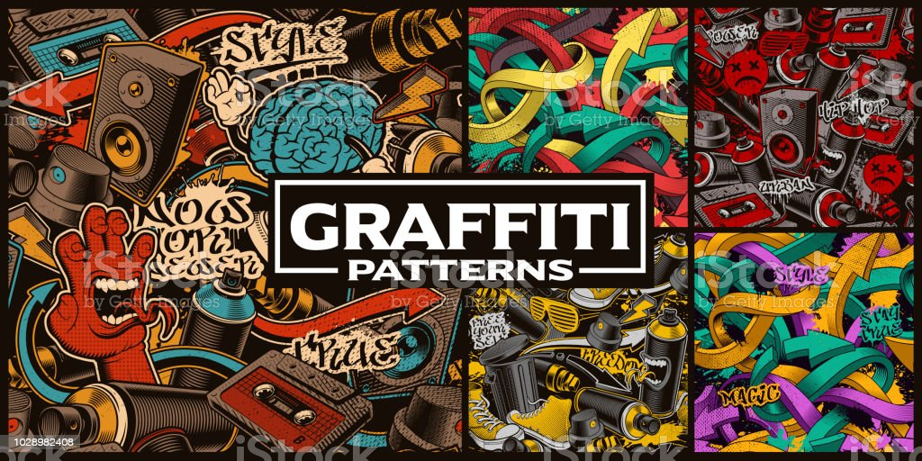 Set of seamless patterns with graffiti art vector art illustration
