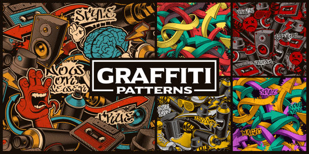 set of seamless patterns with graffiti art - urban fashion stock illustrations, clip art, cartoons, & icons