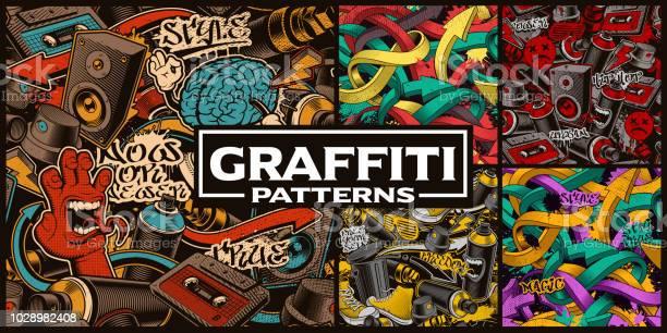 Ensemble De Modèles Sans Couture Avec Lart Du Graffiti Vecteurs libres de droits et plus d'images vectorielles de Art