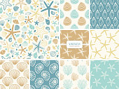 Set of seamless pattern with hand drawn seashells and sea stars, neutral colors marine theme vector illustration in minimal scandinavian style, ideal for interior design, textile, fabrics etc