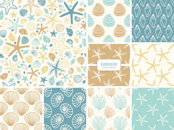 Set of seamless patterns with hand drawn seashells, neutral colors marine theme in minimal scandinavian style Set of seamless pattern with hand drawn seashells and sea stars, neutral colors marine theme vector illustration in minimal scandinavian style, ideal for interior design, textile, fabrics etc beach designs stock illustrations