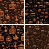 Set of 4 seamless patterns with handdrawn coffee cups, beans, grinder, coffee pot, calligraphic text COFFEE. Background design for cafe or restaurant menu.