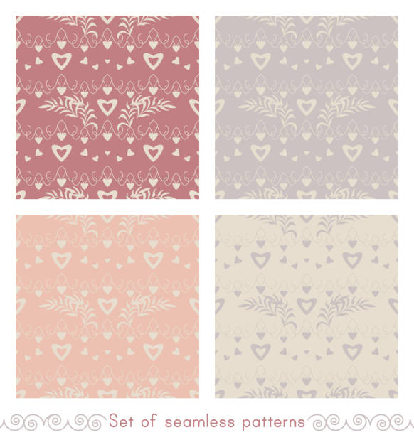 Ensemble de motifs sans couture avec des cœurs, des petits cœurs et des feuilles. - Illustration vectorielle