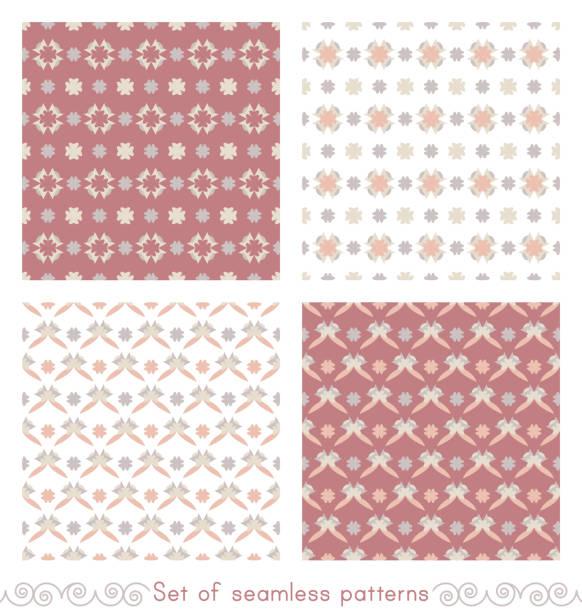 Ensemble de motifs sans couture avec peu de cœurs abstraits. - Illustration vectorielle