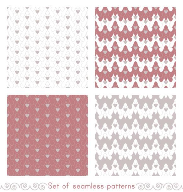 Ensemble de motifs sans couture avec de petits cœurs - Illustration vectorielle
