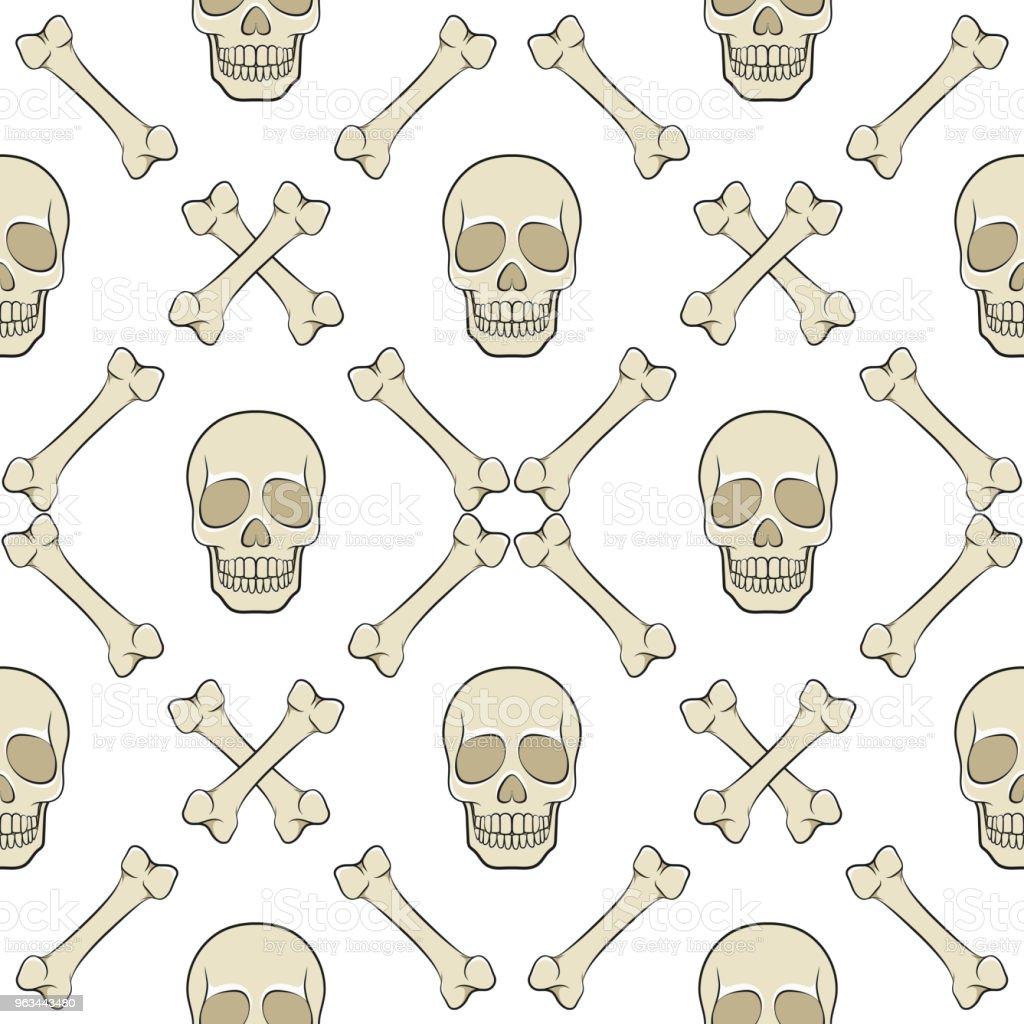 Zestaw bezszwowych wzorów z czaszką i kośćmi. Kolorowe tła wektorowe. - Grafika wektorowa royalty-free (Czaszka)