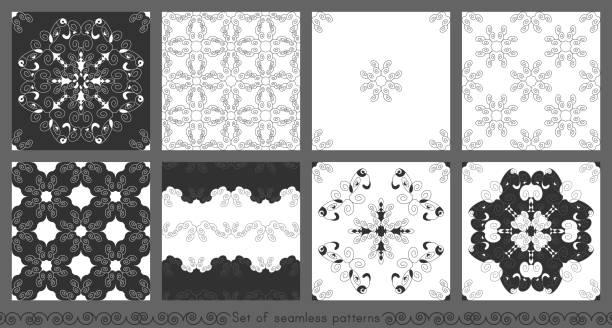 Ensemble de motifs sans couture avec des spirales. - Illustration vectorielle