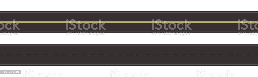 Set of Seamless Road Marking on a White Isolated Background vector art illustration