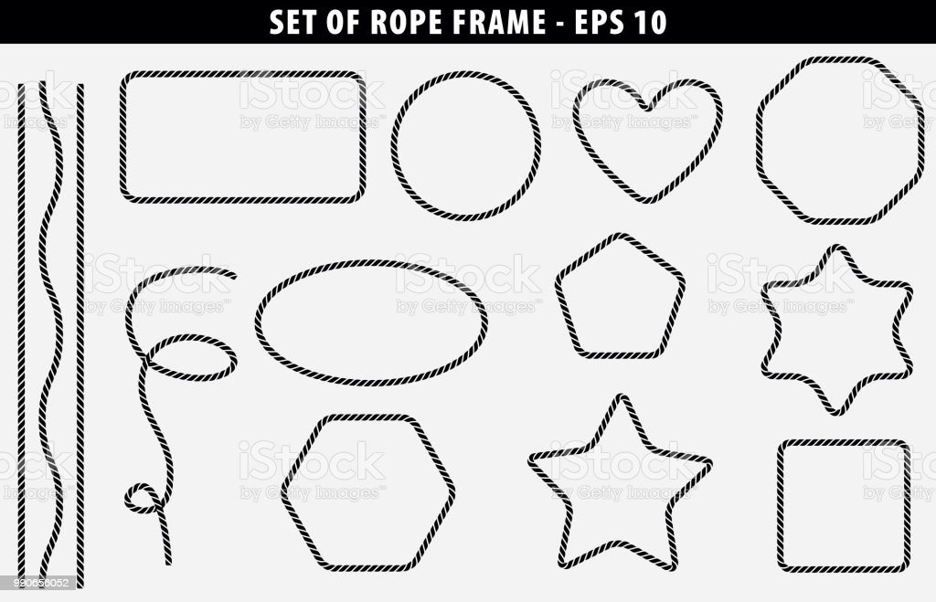 Set of seamless Rope frame with various shape royalty-free set of seamless rope frame with various shape stock illustration - download image now