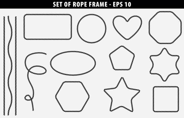 stockillustraties, clipart, cartoons en iconen met set van naadloze touw frame met verschillende vorm - touw